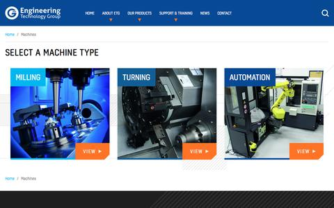 Screenshot of Products Page engtechgroup.com - Machines | Our Entire Range of CNC Milling & Turning Machines | ETG - captured Sept. 26, 2018