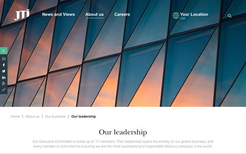 Screenshot of Team Page jti.com - Our leadership   Japan Tobacco International – a global tobacco company - captured Nov. 1, 2018