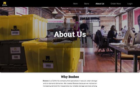 Screenshot of About Page boxbee.com - About Us | Moving Boxes, Supplies and Storage | Boxbee - captured Aug. 18, 2019