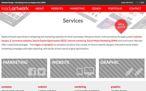 Screenshot of Services Page readyartwork.com - Magento Services Alhambra | Ready Artwork Design Social Media - captured Feb. 18, 2016
