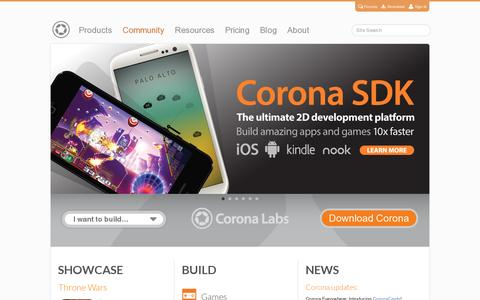 Screenshot of Home Page coronalabs.com - Cross-Platform Mobile App Development for iOS, Android - Corona Labs - captured July 11, 2014