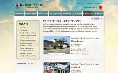 Screenshot of Locations Page bradfordokeefe.com - Facilities & Directions   Bradford O'Keefe Funeral Homes Biloxi, MS - captured June 21, 2016