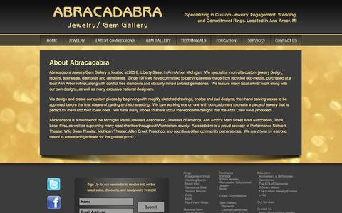Screenshot of About Page abragem.com - Abracadabra Jewelry - About Us - captured Oct. 4, 2014