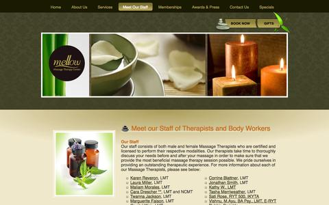 Screenshot of Team Page mellowmassage.com - Meet Our Staff | Staff | Mellow - captured Oct. 27, 2014