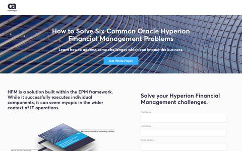 Screenshot of Landing Page ca.com - How to Solve Six Common Oracle Hyperion Financial Management Problems - CA Technologies - captured April 21, 2018