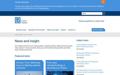 Screenshot of Press Page lr.org - News and insight   Lloyd's Register - captured Nov. 16, 2016