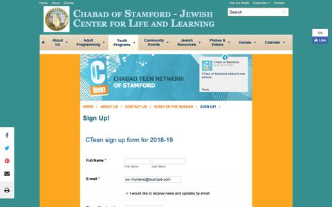Screenshot of Signup Page chabadstamford.org - Sign Up! - Chabad of Stamford - Jewish Center for Life and Learning - captured Sept. 27, 2018