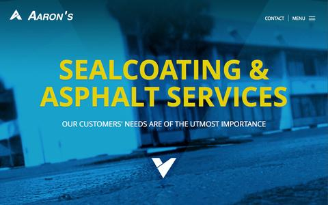 Screenshot of Home Page aaronsealcoating.com - Aaron's Sealcoating and Asphalt Services - captured Jan. 23, 2015