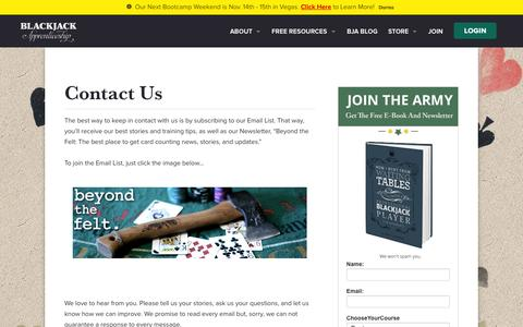 Screenshot of Contact Page blackjackapprenticeship.com - Contact Us - Blackjack Apprenticeship - captured Oct. 1, 2015