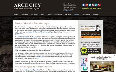 Screenshot of Pricing Page archcitygranite.com - How Much Do Granite Countertops Cost? - captured Nov. 21, 2016