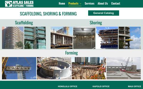Screenshot of Products Page atlas-sales.com - Scaffolding Products | Honolulu, HI, Atlas Sales Company - captured Oct. 9, 2017