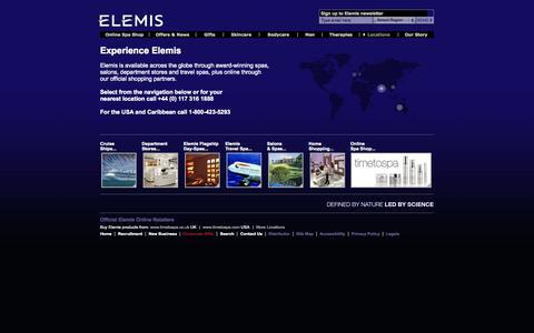 Screenshot of Locations Page elemis.com - Elemis | Locations - captured Sept. 19, 2014