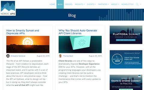 Screenshot of Blog nordicapis.com - Blog - Nordic APIs | Weekly High Impact Blog Posts - captured Aug. 22, 2019
