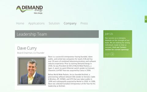 Screenshot of Team Page demandenergynetworks.com - Demand Energy Storage Intelligent Electricity Battery Storage Systems Smart Grid Renewables Solar Wind Commercial Microgrids  - Leadership - captured Sept. 13, 2014