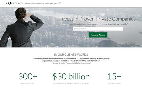 Screenshot of Landing Page equityzen.com - Invest In Proven Private Companies | EquityZen - captured Dec. 9, 2015