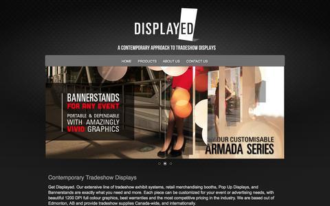 Screenshot of Home Page displayed.ca - Edmonton Trade Show Booths - Bannerstands - Pop Up Displays - Trade Show Displays - Displayed.ca - captured Sept. 30, 2014