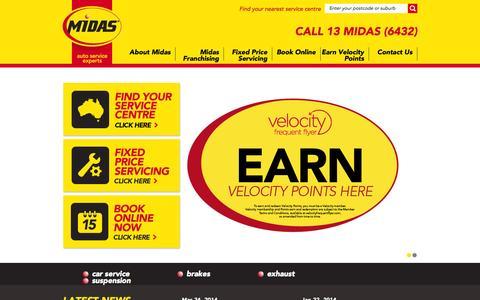 Screenshot of Home Page midas.com.au - Midas - Car Service   Brake Service   Auto Service   Exhaust   Suspension - captured Oct. 6, 2014