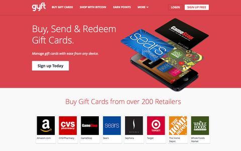 Screenshot of Home Page gyft.com - Gyft | Free eGift Card App | Buy Gift Cards - captured Sept. 16, 2014