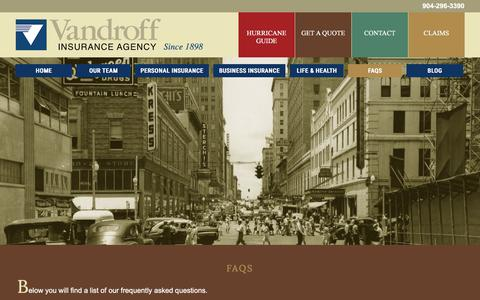 Screenshot of FAQ Page vandroff-insurance.com - FAQs | Vandroff Insurance - captured Nov. 12, 2017