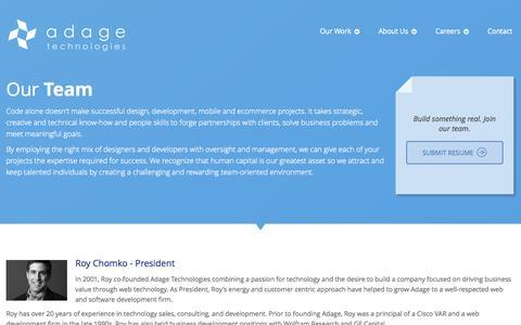 Screenshot of Team Page adagetechnologies.com - Adage Technologies - Meet Our Chicago Web Development Team - captured Nov. 23, 2015