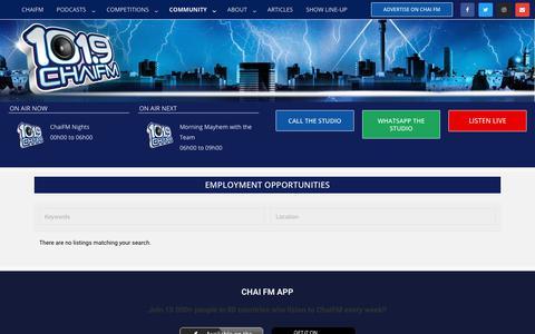 Screenshot of Jobs Page chaifm.com - Jobs – Chai FM - captured Oct. 18, 2018
