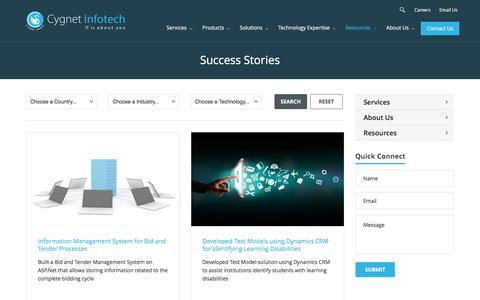 Screenshot of Case Studies Page cygnet-infotech.com - Cygnet Success Stories - captured Feb. 22, 2017