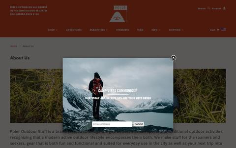 Screenshot of About Page polerstuff.com - About Us   Poler Stuff - captured Oct. 22, 2015
