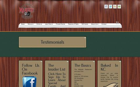 Screenshot of Testimonials Page majestickc.com - Testimonials «  The Majestic Restaurant and Jazz Club - captured Oct. 6, 2014