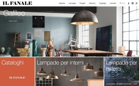 Screenshot of Home Page ilfanale.com - Lampade da interno e esterno Made in Italy in ottone, ferro e rame | Il fanale - captured Oct. 14, 2017