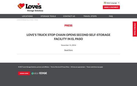 Screenshot of Press Page lovesstorage.com - Press | Love's Storage Solutions - captured May 8, 2017