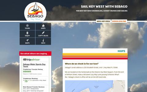 Screenshot of Maps & Directions Page keywestsebago.com - Where Do I Go? - Sebago Key West Watersports - captured Oct. 4, 2014