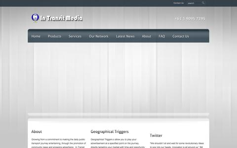 Screenshot of Home Page Jobs Page Support Page Terms Page intransitmedia.com.au - In Transit Media - captured Sept. 30, 2014