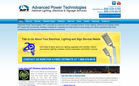 Screenshot of Home Page advancedpowertech.com - Best Lighting, Electrical and Signage Services - Advanced Power Tech - captured Oct. 4, 2014