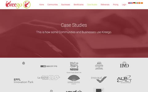 Screenshot of Case Studies Page kireego.com - Case Studies | Kireego: Connecter Commerces et Communautés - captured Oct. 17, 2017