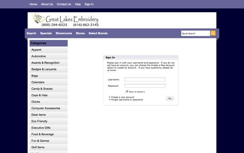 Screenshot of Login Page greatlakesemb.com - Great Lakes Embroidery - Sign In - captured Oct. 3, 2014