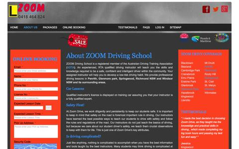 Screenshot of About Page zoomdrive.com.au - ABOUT US | Driving Instructor in Penrith, Glenmore park, Windsor NSW, Richmond NSW, Springwood - Zoom Driving School - captured Feb. 18, 2016