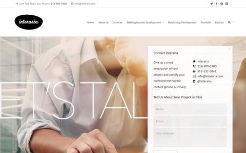 Screenshot of Contact Page interaria.com - Dallas Web Application Development Company, Contact Us - captured Jan. 9, 2016