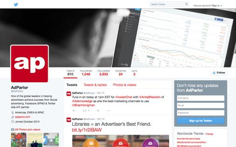 Screenshot of Twitter Page twitter.com - AdParlor (@AdParlor) | Twitter - captured Oct. 23, 2014