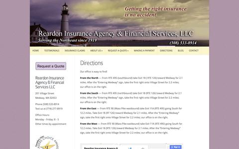 Screenshot of Maps & Directions Page reardoninsurance.com - Directions - Reardon Insurance | Reardon Insurance - captured Oct. 18, 2018