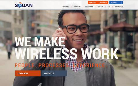 Screenshot of Home Page squan.com - SQUAN |  Solutions for Wireless & Data Networks - captured Feb. 27, 2016