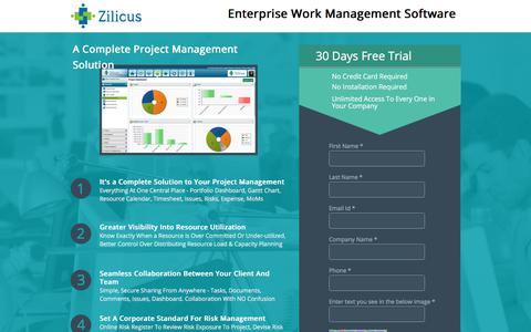 Screenshot of Signup Page Trial Page zilicus.com - ZilicusPM Signup - captured Sept. 20, 2018