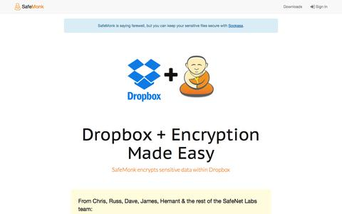 Screenshot of Trial Page safemonk.com - Dropbox for Business Encryption | Free Trial - captured Aug. 2, 2015