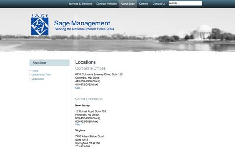 Screenshot of Locations Page sage-mgt.net - Locations   Sage Management - captured Sept. 30, 2014