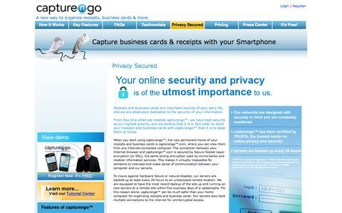 Screenshot of Privacy Page capturengo.com - Privacy Secured - captured Sept. 26, 2014