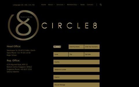 Screenshot of Contact Page circle8.ch - Guided Tours Switzerland | Contact |  Circle8 - captured Sept. 29, 2014