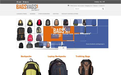 Screenshot of Home Page bagsvags.com - Backpacks, Laptop Backpacks, Laptop Bags & Duffle Bags | Online Shopping India - captured Oct. 5, 2014