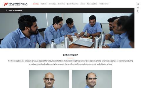 Screenshot of Team Page padminivna.com - Team - Padmini VNA Mechatronics Pvt Ltd - captured Dec. 13, 2018