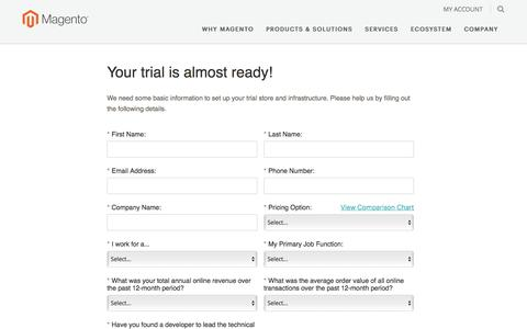 Screenshot of Trial Page magento.com - Trial | Magento - captured May 2, 2017