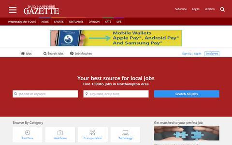 Screenshot of Jobs Page gazettenet.com - Jobs in Northampton, MA | Daily Hampshire Gazette - captured June 27, 2017