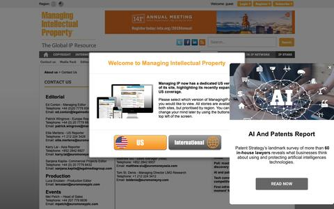 Screenshot of Contact Page managingip.com - Managing Intellectual Property | Contact Us - captured March 22, 2019